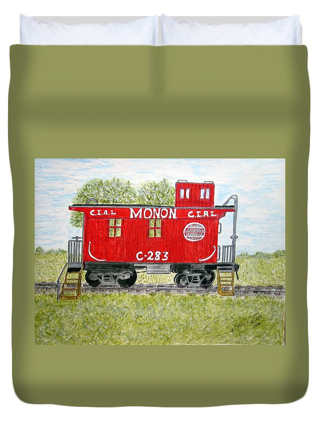 Monon Duvet Cover featuring the painting Monon Wood Caboose Train C 283 1950s by Kathy Marrs Chandler