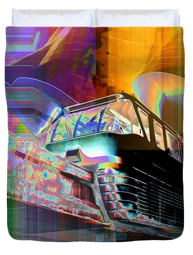 Seattle Duvet Cover featuring the digital art Monorail And Emp by Tim Allen