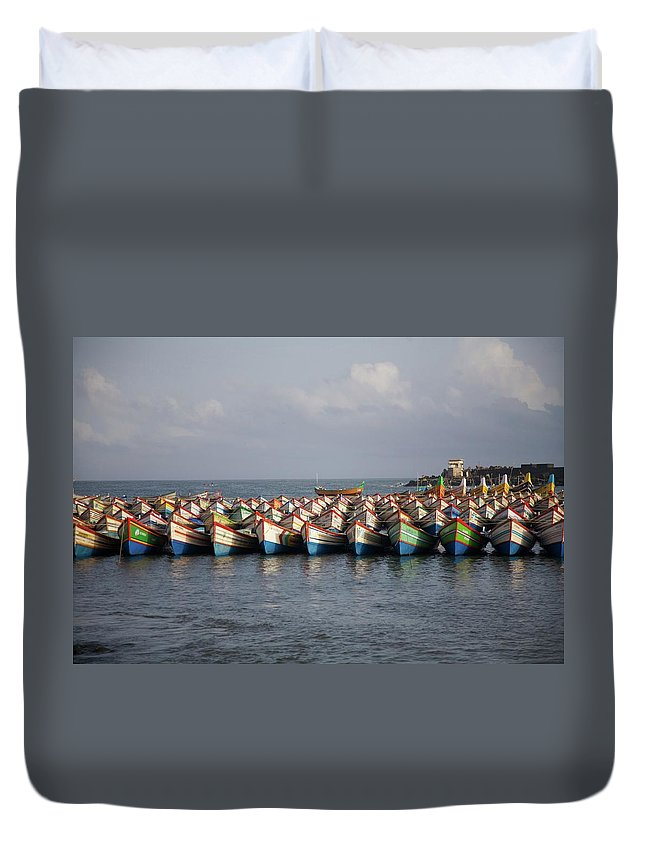 Coastal India Duvet Cover featuring the photograph Monsoon Mooring by Lee Stickels