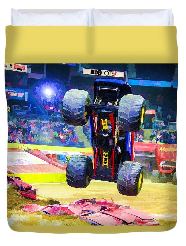 Monster Jam Duvet Cover featuring the painting Monster Jam 1 by Jeelan Clark