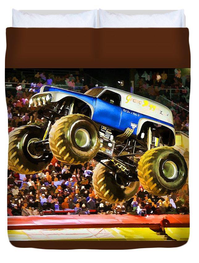 Monster Jam Atlanta 2012 Duvet Cover featuring the painting Monster Jam Atlanta 2012 by Jeelan Clark