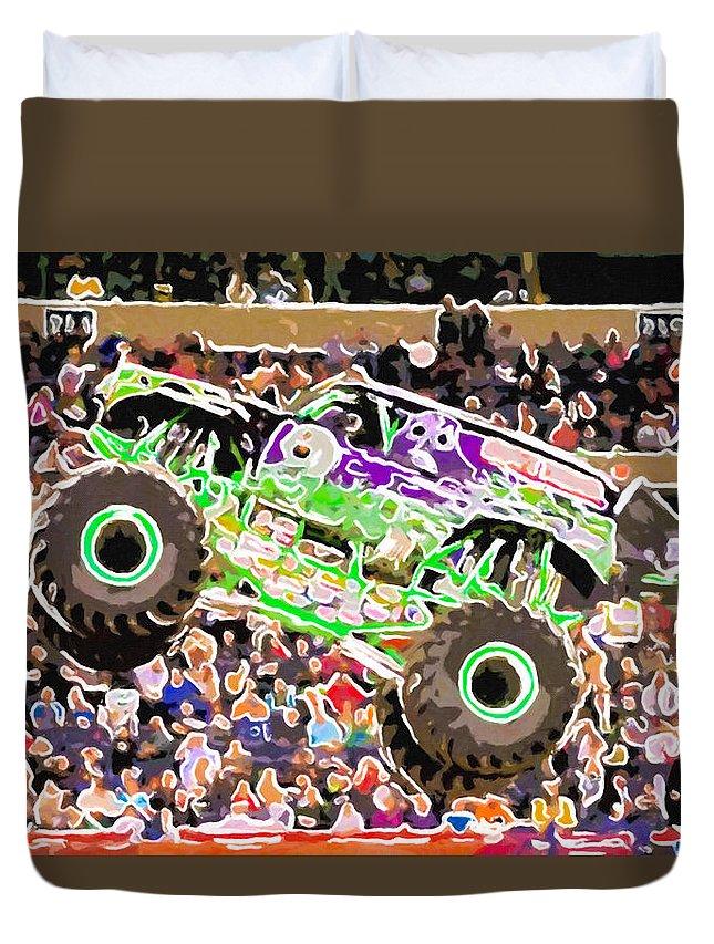 Monster Jam Orlando Fl 2014 Field Of Trucks Duvet Cover featuring the painting Monster Jam Orlando Fl by Jeelan Clark