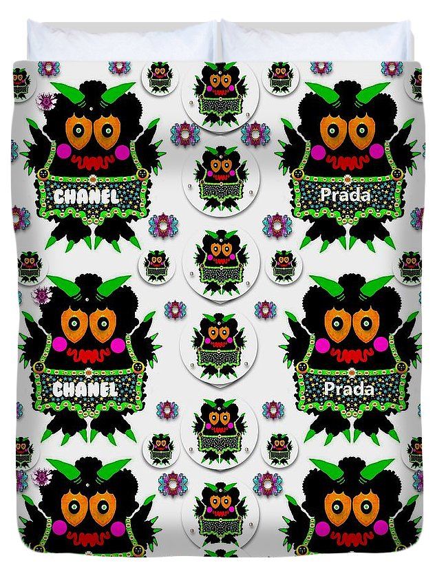 Monster Duvet Cover featuring the mixed media Monster Trolls In Fashion Shorts Chanel Versa Prada by Pepita Selles