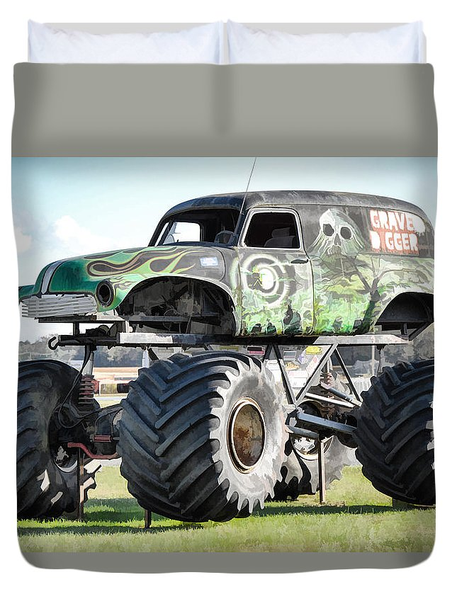 Grave Digger Monster Truck Duvet Cover featuring the painting Monster Truck 4 by Jeelan Clark