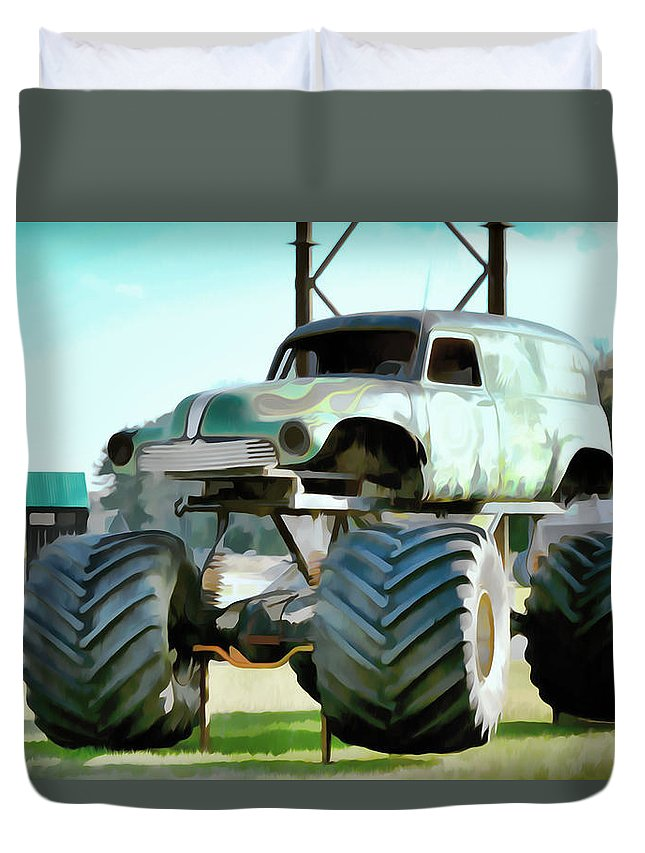 Grave Digger Monster Truck Duvet Cover featuring the painting Monster Truck 6 by Jeelan Clark