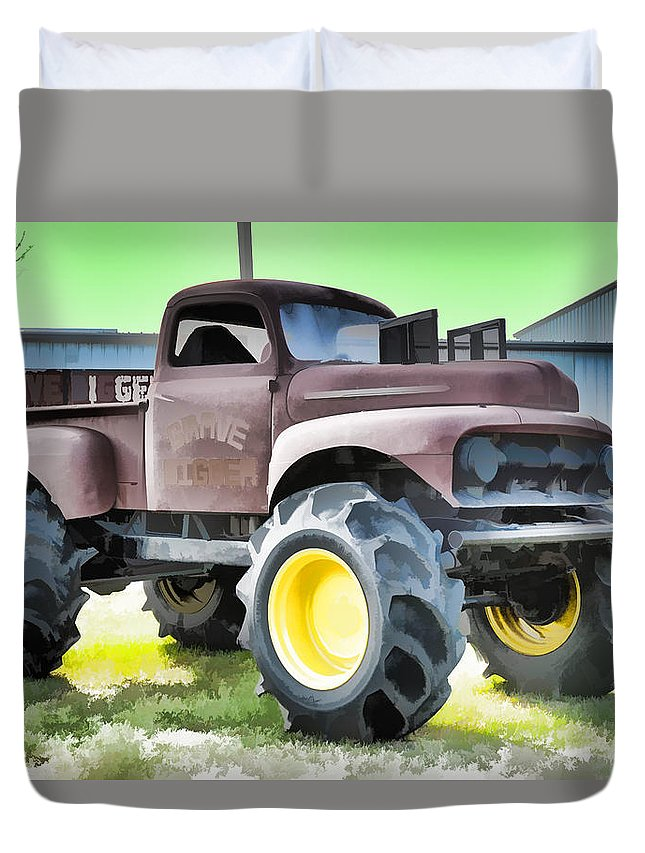 Grave Digger Monster Truck Duvet Cover featuring the painting Monster Truck - Grave Digger 3 by Jeelan Clark