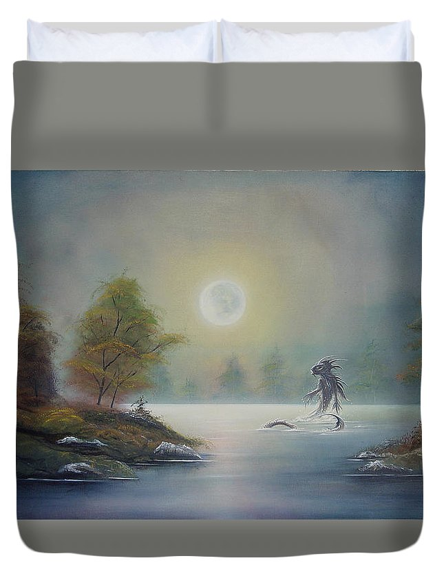 Landscape Duvet Cover featuring the painting Monstruo Ness by Angel Ortiz