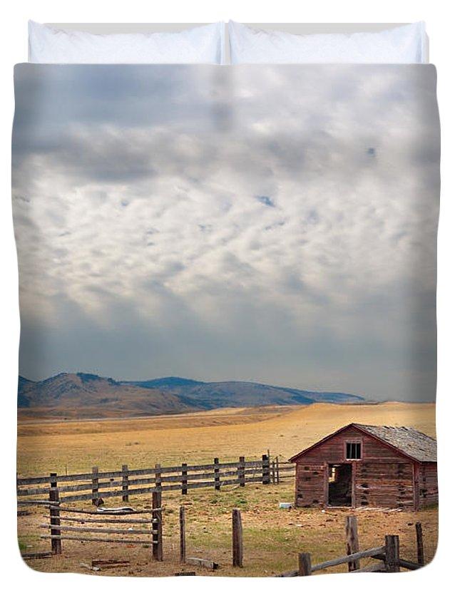 Montana Duvet Cover featuring the photograph Montana Farmyard by Grant Groberg