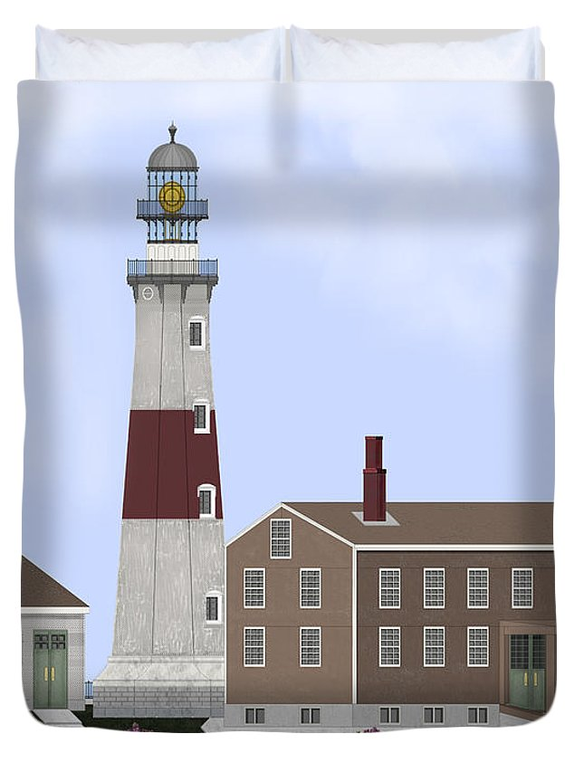 Montauk Lighthouse Duvet Cover featuring the painting Montauk Point Lighthouse Long Island New York by Anne Norskog