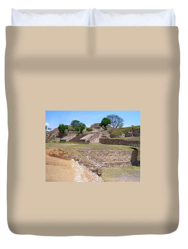 Monte Alban Duvet Cover featuring the photograph Monte Alban 3 by Michael Peychich