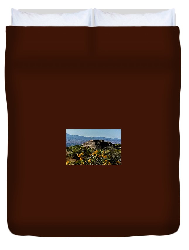 Indian Duvet Cover featuring the photograph Monte Alban 4 by Michael Peychich