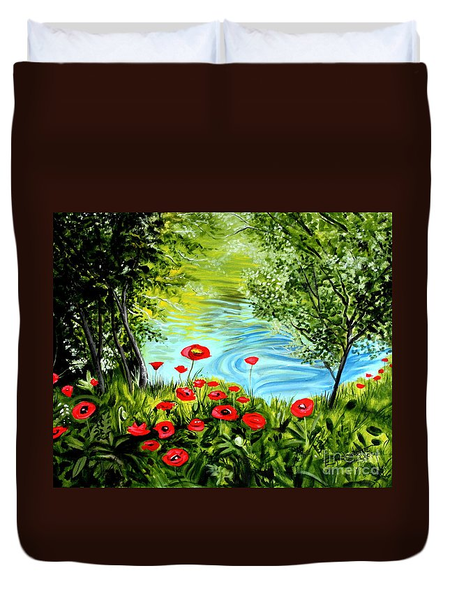 Landscape Duvet Cover featuring the painting Monte Rio Poppies by Elizabeth Robinette Tyndall
