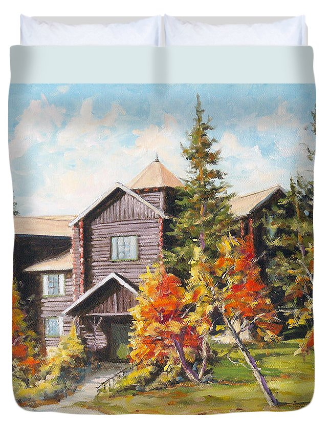 Landscape Duvet Cover featuring the painting Montebello by Richard T Pranke