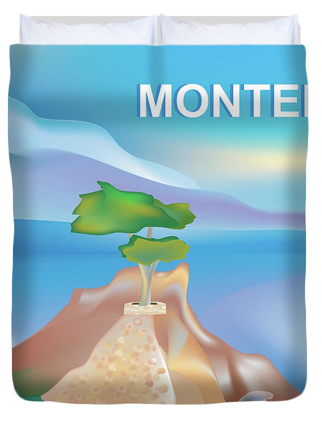 Monterey Bay Duvet Cover featuring the digital art Monterey Bay California Horizontal Scene by Karen Young