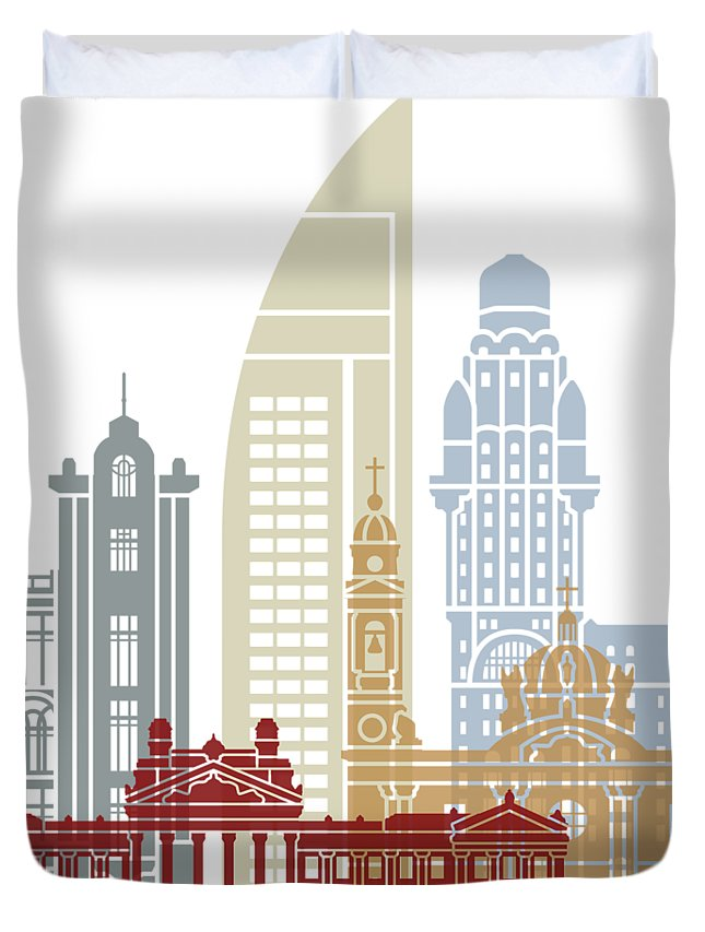 Montevideo Duvet Cover featuring the painting Montevideo Skyline Poster by Pablo Romero