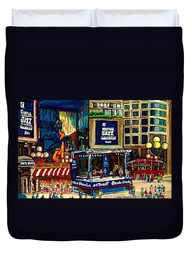 Montreal Duvet Cover featuring the painting Montreal Jazz Festival Arcade by Carole Spandau