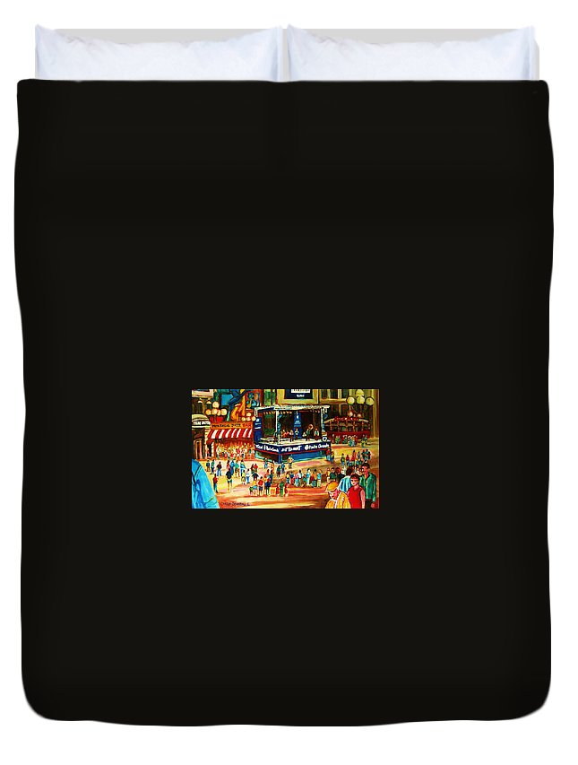 Montreal Duvet Cover featuring the painting Montreal Jazz Festival by Carole Spandau