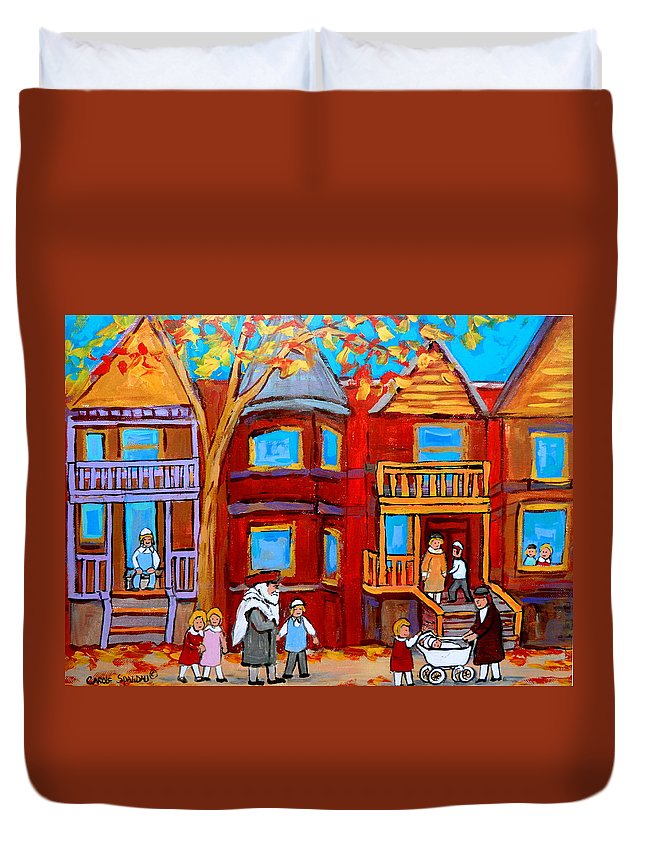 Outremont Duvet Cover featuring the painting Montreal Memories Of Zaida And The Family by Carole Spandau