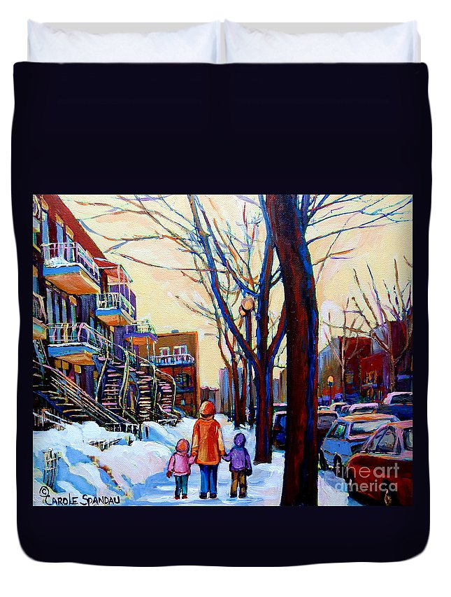 Montreal Duvet Cover featuring the painting Montreal Winter by Carole Spandau