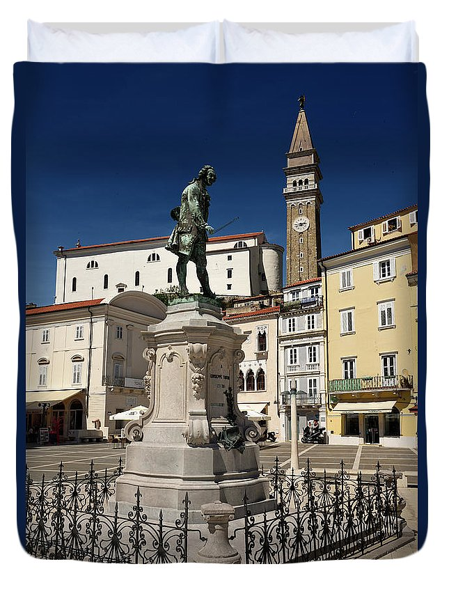 St. George's Duvet Cover featuring the photograph Monument And Statue Of Giuseppe Tartini At Tartini Square Piran by Reimar Gaertner