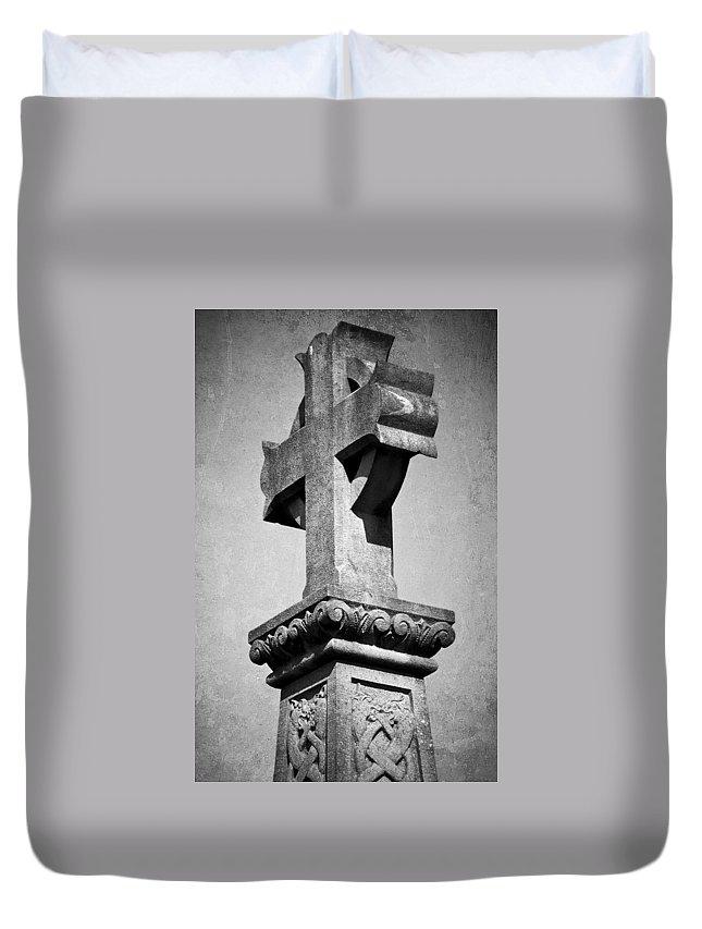 Irish Duvet Cover featuring the photograph Monument Cross Macroom Ireland by Teresa Mucha