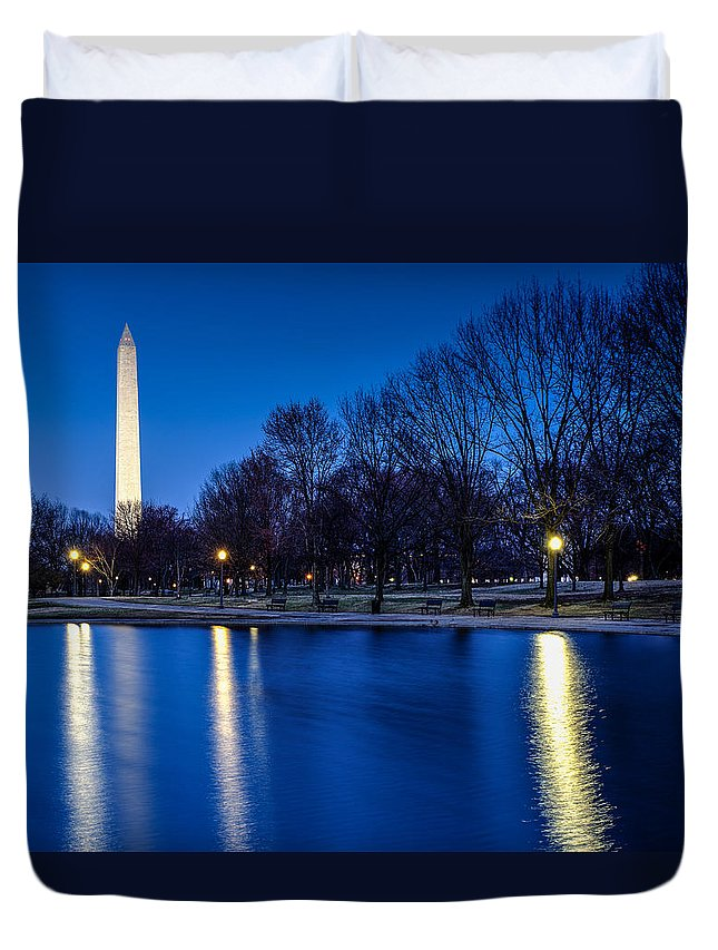 Dc Duvet Cover featuring the photograph Monument In Blue by Jay Whipple