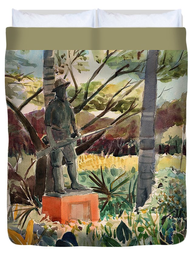 Landscape Duvet Cover featuring the painting Monument Of A Forgotten War by Thomas Tribby