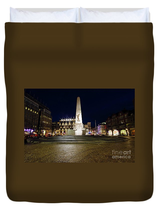 Amsterdam Duvet Cover featuring the photograph Monument On The Dam In Amsterdam Netherlands At Night by Nisangha Ji