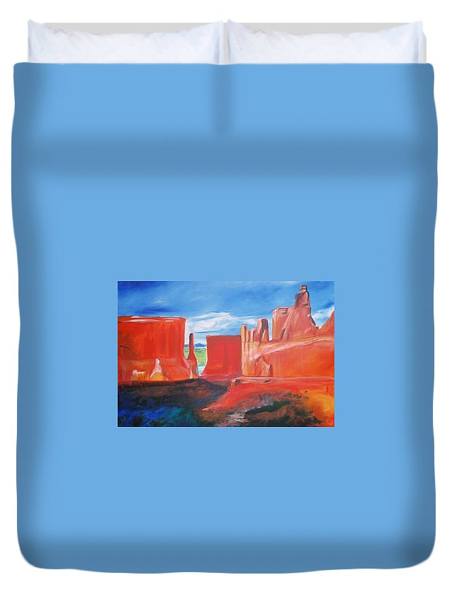 Floral Duvet Cover featuring the painting Monument Valley by Eric Schiabor