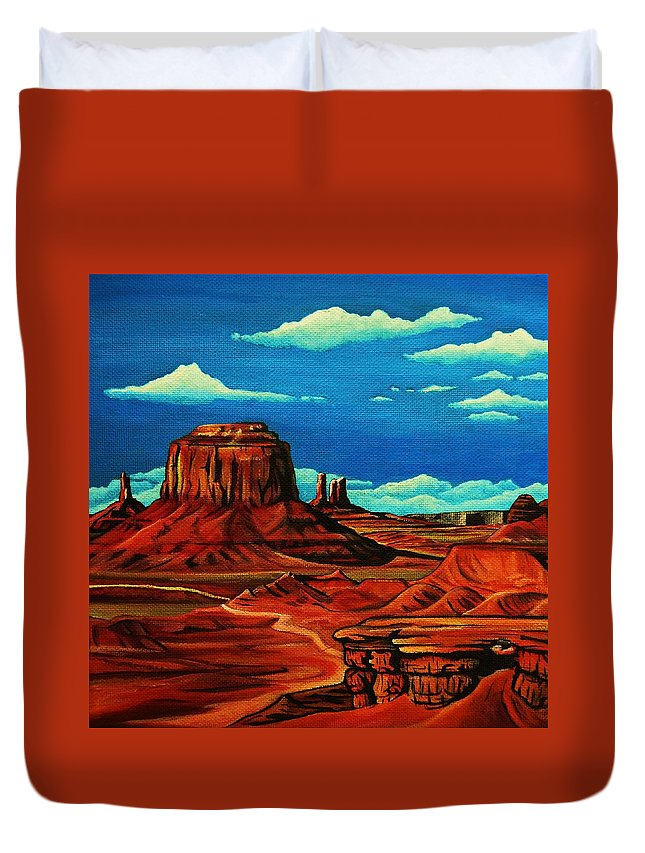 Monument Valley Duvet Cover featuring the painting Monument Valley by Lucy Deane
