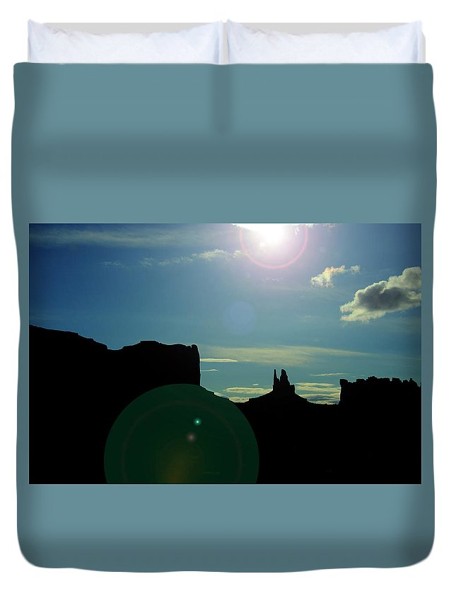Monument Valley Duvet Cover featuring the photograph Monument Valley silhouette by Roy Nierdieck