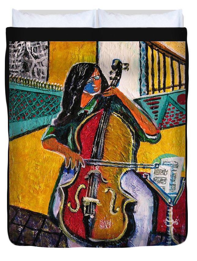 Music Duvet Cover featuring the painting Mood In Music by Dennis Tawes