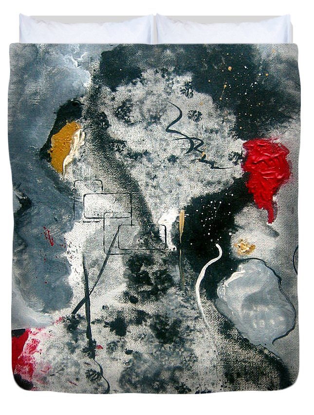 Abstract Duvet Cover featuring the painting Moods by Ruth Palmer