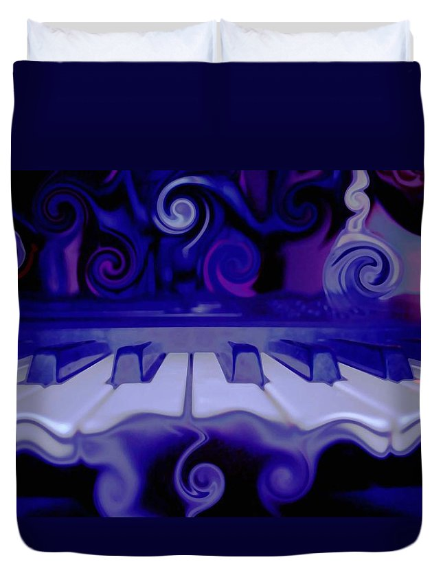 Music Duvet Cover featuring the photograph Moody Blues by Linda Sannuti
