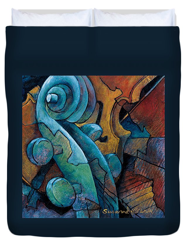 Cello Artwork Duvet Cover featuring the painting Moody Blues by Susanne Clark
