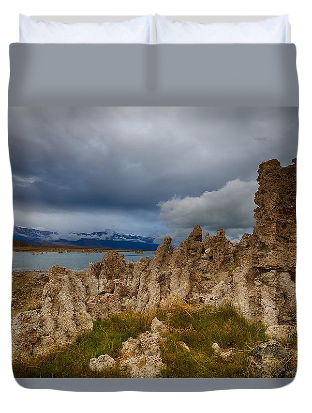 Mono Lake Duvet Cover featuring the photograph Moody Mono Lake by Kenneth Bradley