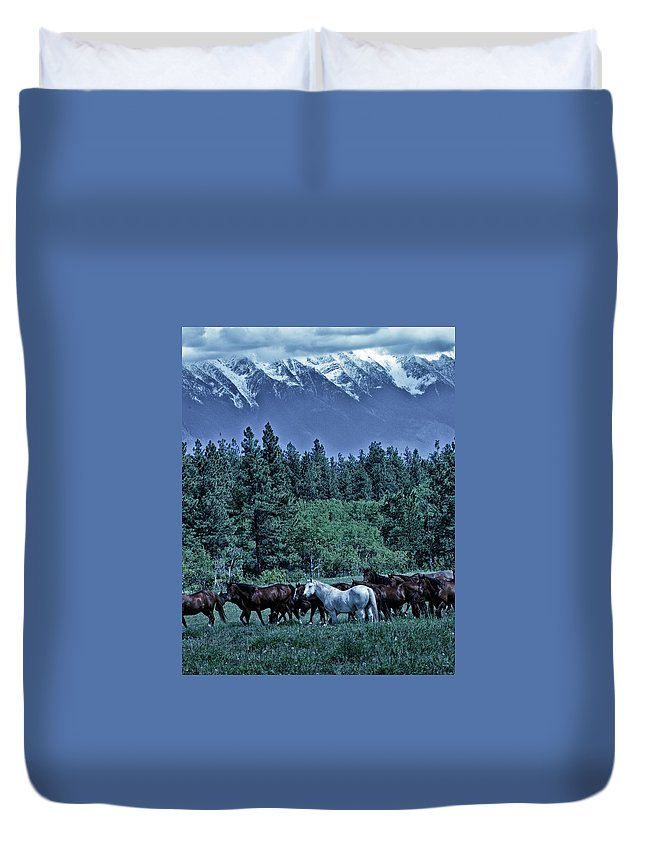 Rocky Mountains Duvet Cover featuring the photograph Moody Mountains by Eleszabeth McNeel