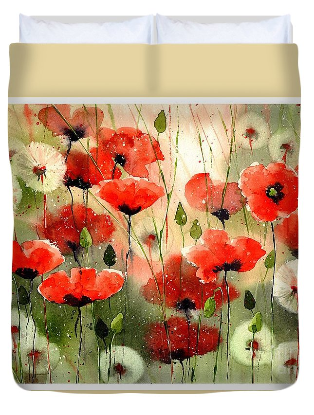 Red Duvet Cover featuring the painting Moody Poppies In The Afternoon by Suzann Sines
