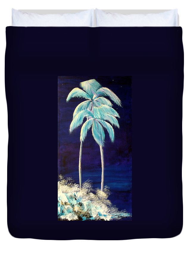 Palm Duvet Cover featuring the painting Moolight Beach by Susan Kubes