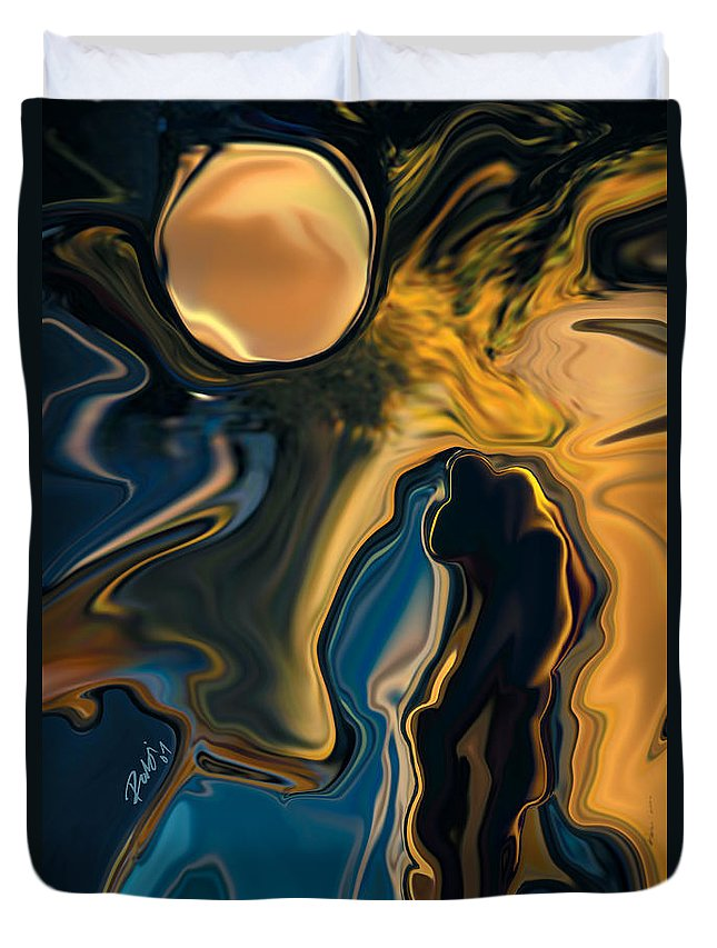 Moon Duvet Cover featuring the digital art Moon And Fiance by Rabi Khan