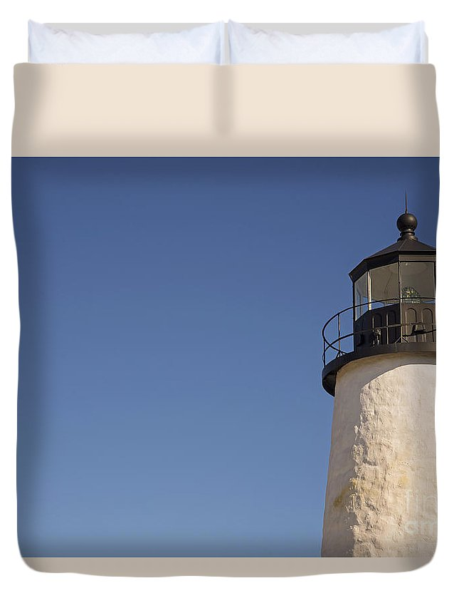 Maine Award Winning Photographers Duvet Cover featuring the photograph Moon And Pemiquid Lighthouse by Alana Ranney