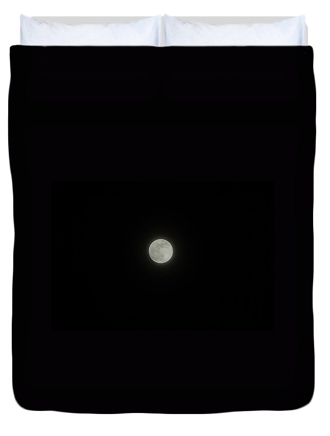 Sky Duvet Cover featuring the photograph Moon At Night by Alice Markham
