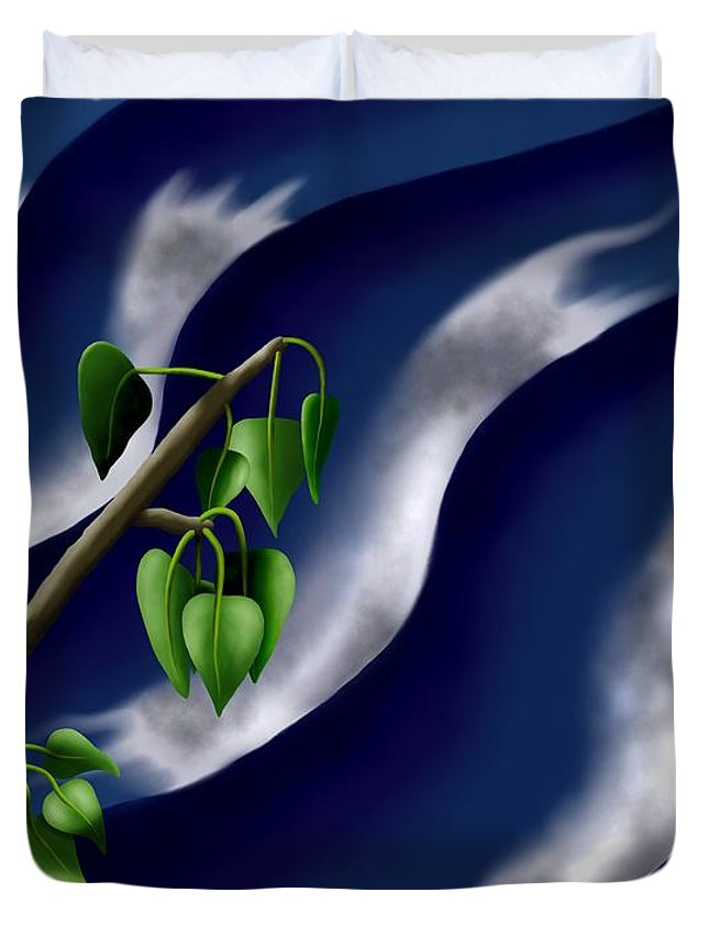 Surrealism Duvet Cover featuring the digital art Moon-glow I - Poplars Over Water At Night by Robert Morin