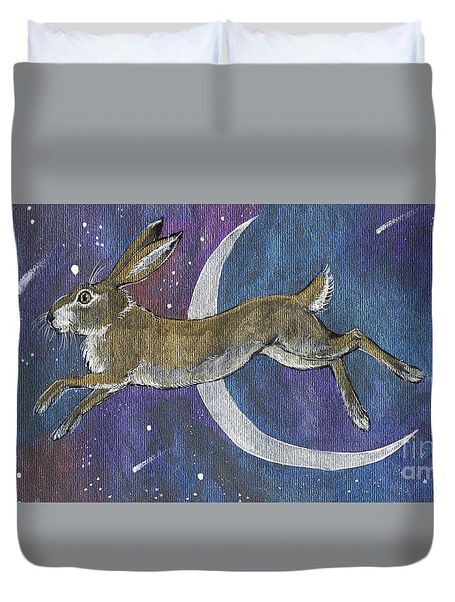 Moon Duvet Cover featuring the painting Moon Hare 2018 08 01 by Angel Ciesniarska