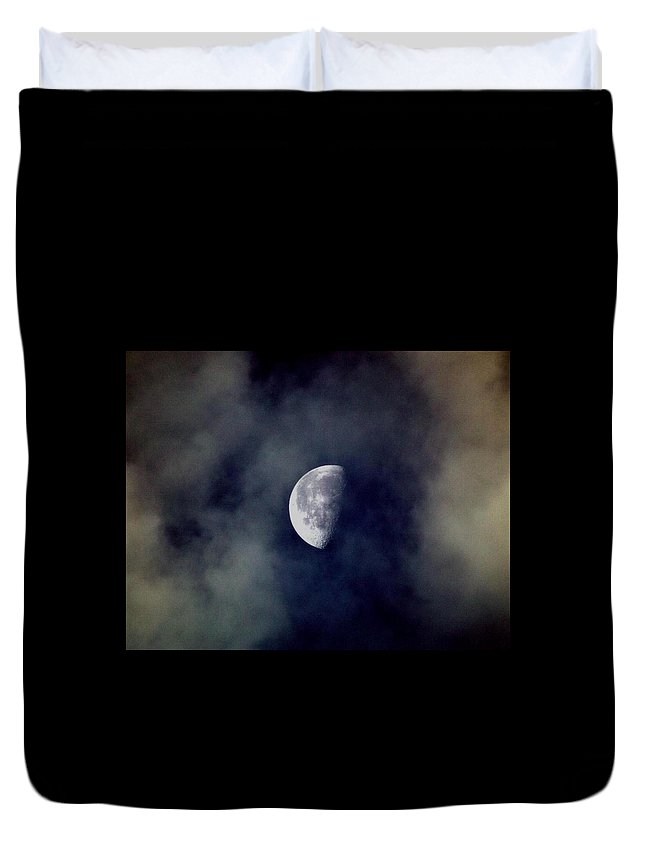 Moon Duvet Cover featuring the photograph Moon In The Mist by Mitch Caueffield