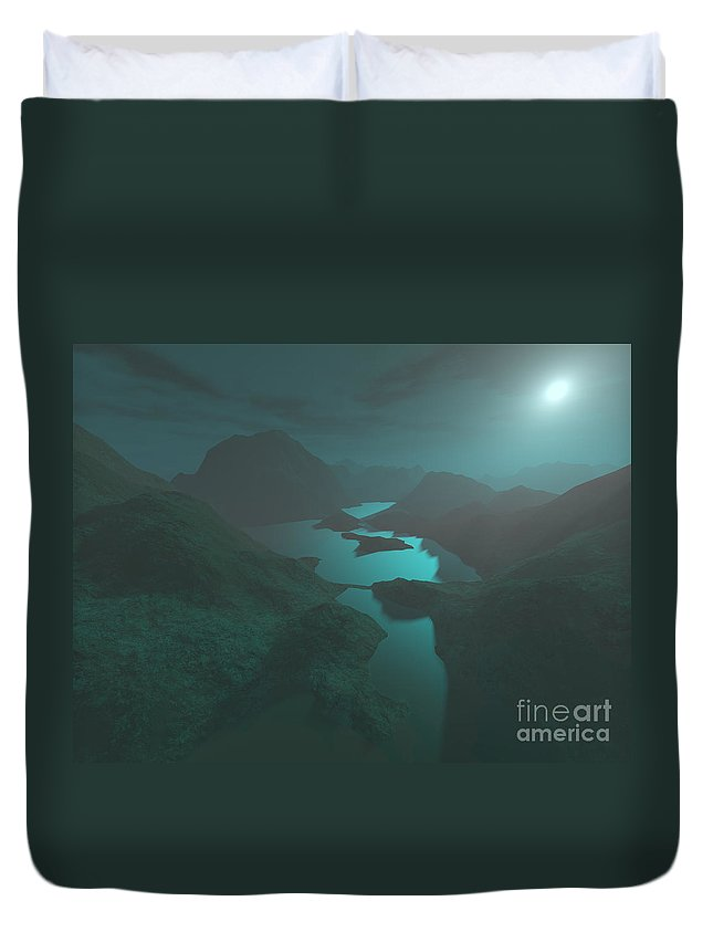 Digital Art Duvet Cover featuring the digital art Moon Light At The Mountains by Gaspar Avila
