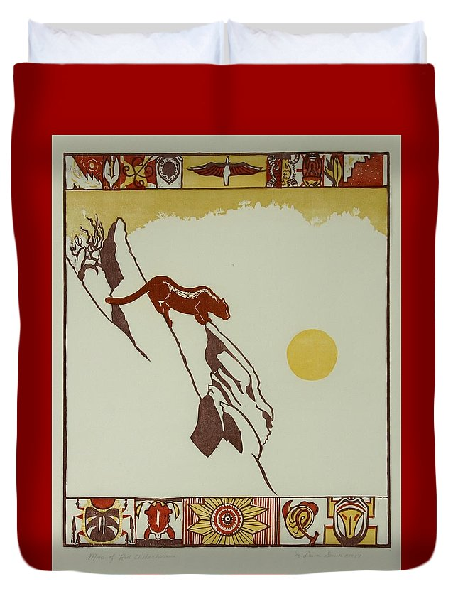 Nature Duvet Cover featuring the drawing Moon Of Red Chokecherries by Dawn Senior-Trask
