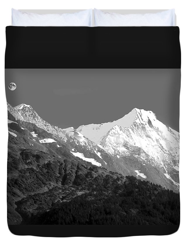 Duvet Cover featuring the photograph Moon Over Alaska by Ronnie Gilbert