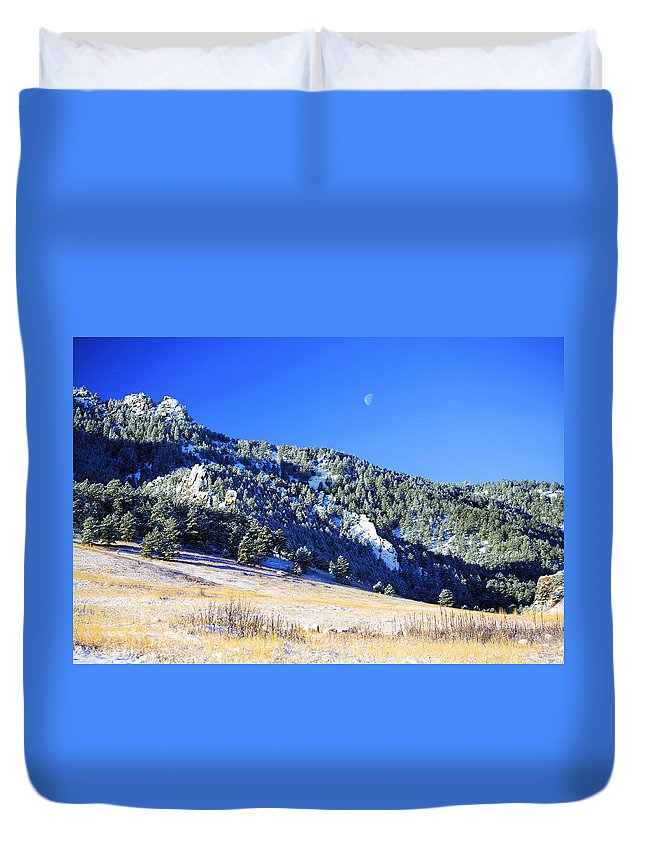 Colorado Duvet Cover featuring the photograph Moon Over Chautauqua by Marilyn Hunt