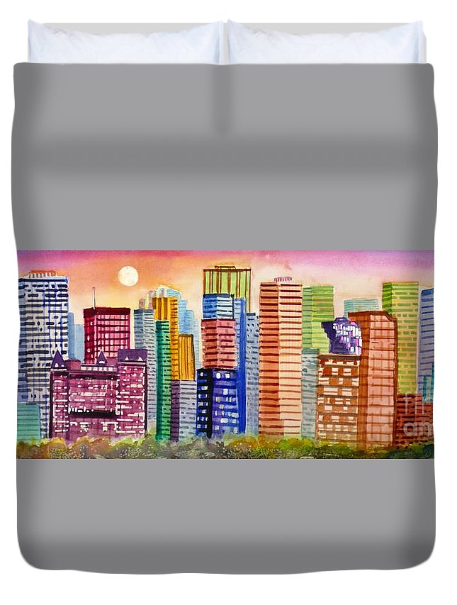Painting Duvet Cover featuring the painting Moon Over Edmonton by Mohamed Hirji